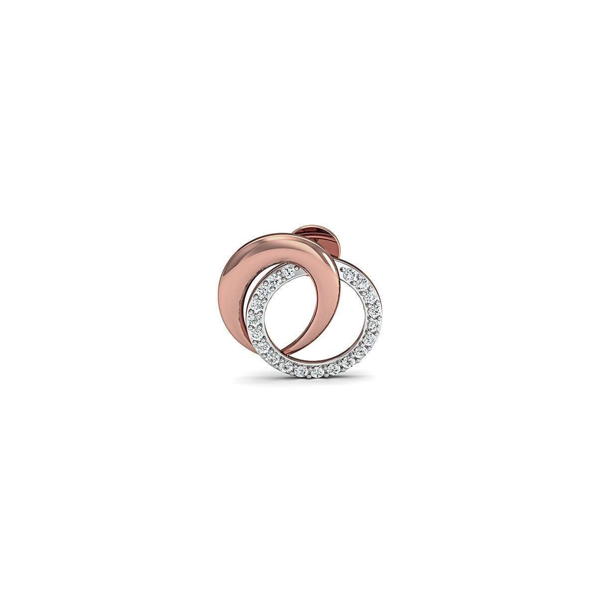18kt Rose Gold Nature Inspired Pave Earrings with Premium Quality Diamonds-Diamoire Jewels-JewelStreet US