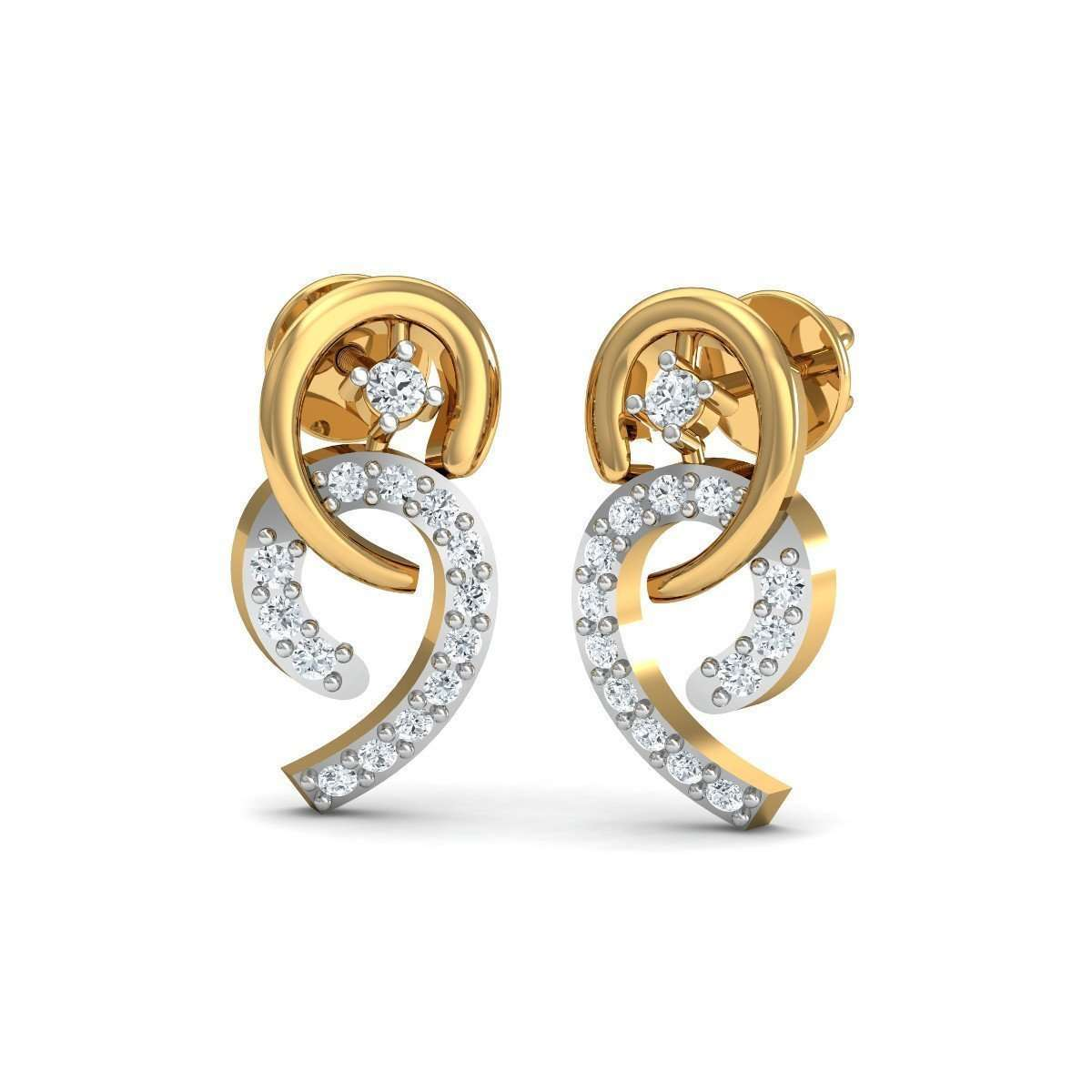 Dangly Diamond Stud Earrings in 18kt Yellow Gold-Diamoire Jewels-JewelStreet US