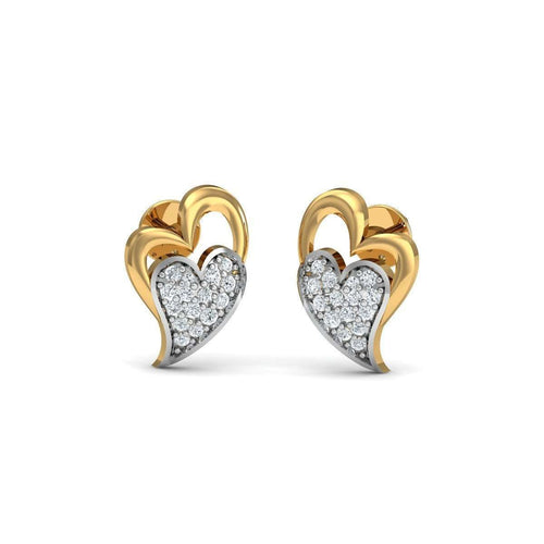 Gusto 18kt Yellow Gold Diamond Stud Earrings-Diamoire Jewels-JewelStreet US