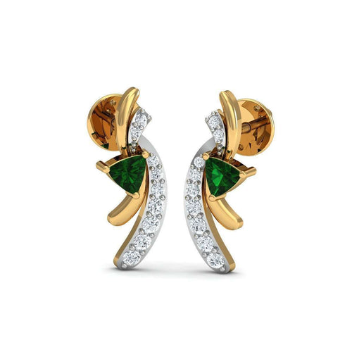 Trillion Cut Emerald Diamond Earrings in 18kt Yellow Gold-Diamoire Jewels-JewelStreet US