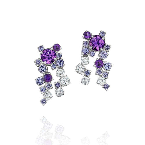 Melting Ice Cluster Purple Sapphire Drop Earrings-Madstone Design-JewelStreet US