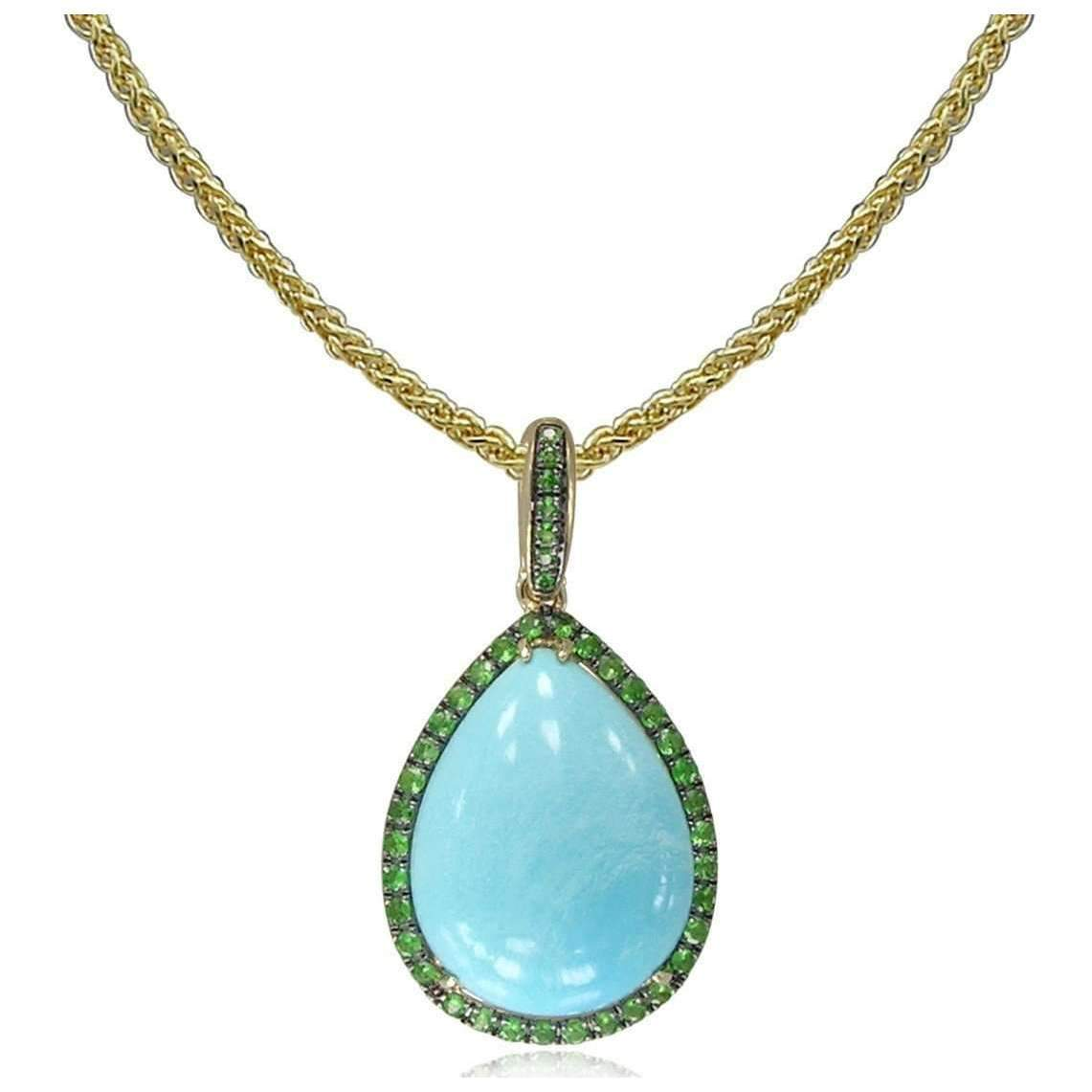 14kt Gold Tsavorite And Turquoise Pendant With Chain