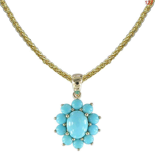 14kt Yellow Gold Turquoise Pendant With Chain