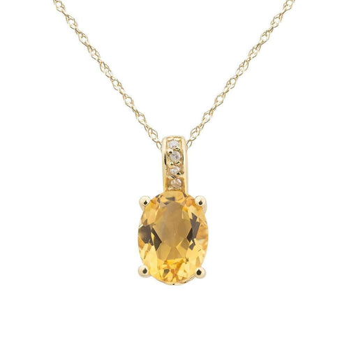 14kt Yellow Gold Diamond And Citrine Pendant With Chain - November Birthstone