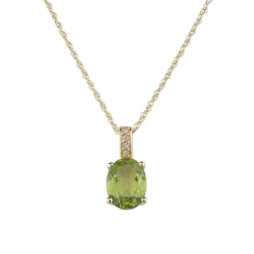 14kt Yellow Gold Diamond And Peridot Pendant With Chain - August Birthstone