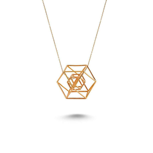 3d Necklace in 18K Rose Gold Plating-Amorium-JewelStreet US