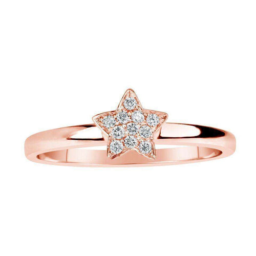 14kt Rose Gold Diamond Star Ring-Samuel B.-JewelStreet US