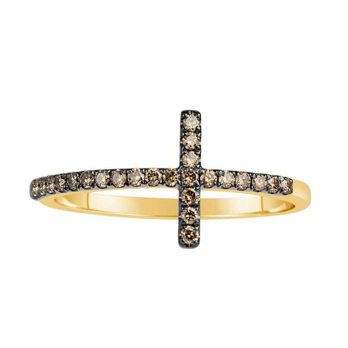14kt Yellow Gold Cross Ring with Diamonds-Samuel B.-JewelStreet US