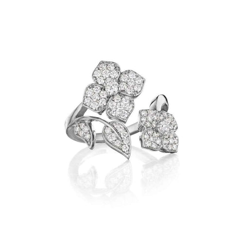 Diamond Flower & Leaf Wrap Around Ring-Penny Preville-JewelStreet US