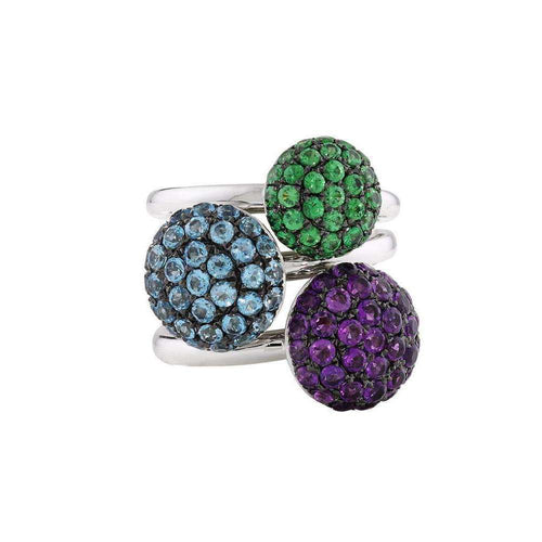 Designer White Gold Multi Colour Ball Ring Trio-London Road Jewellery-JewelStreet US