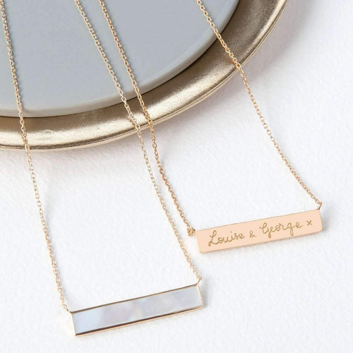 Personalised Gold Plated Gemstone Bar Necklace-Necklaces-Merci Maman-JewelStreet