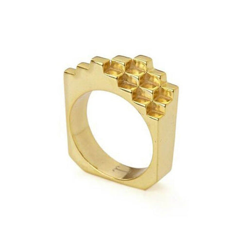 18kt Yellow Gold Vermeil Hive Ring ,[product vendor],JewelStreet