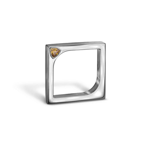 14kt White Gold Horus Ring With Yellow Sapphire ,[product vendor],JewelStreet