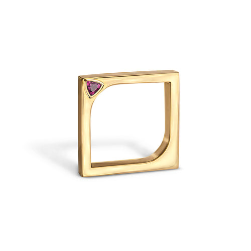 14kt Yellow Gold Horus Ring With Pink Sapphire ,[product vendor],JewelStreet