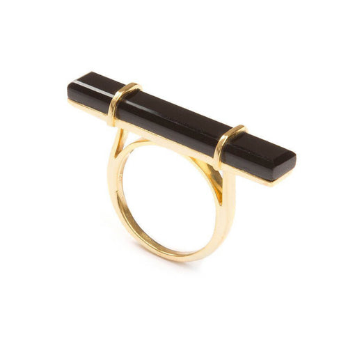 18kt Yellow Gold Vermeil Urban Bar Ring With Black Onyx ,[product vendor],JewelStreet