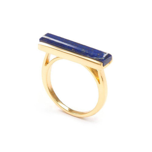 18kt Yellow Gold Vermeil Urban Ring With Lapis Lazuli ,[product vendor],JewelStreet