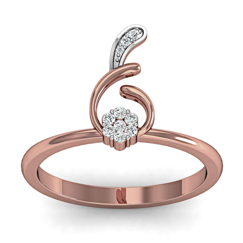 18kt Rose Gold Curvy Diamond Ring-Diamoire Jewels-JewelStreet US