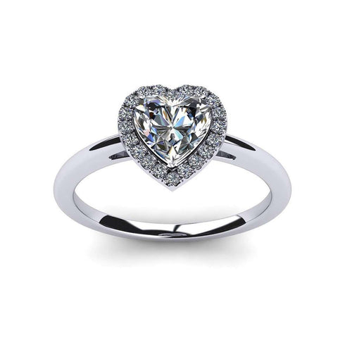 Heart Shape And Round Cut Swarovski Zirconia Ring in 10kt White Gold-Diamoire Jewels-JewelStreet US