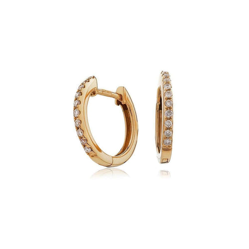 18kt Rose Gold Diamond Huggies-Loushelou-JewelStreet US