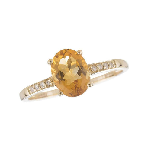 14kt Yellow Gold Diamond And Citrine Ring - November Birthstone