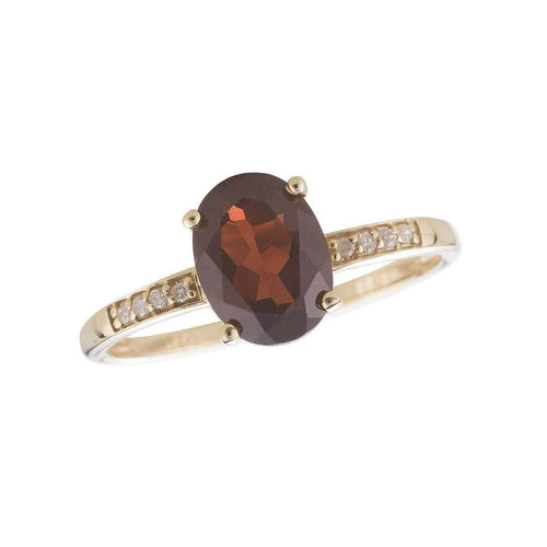 14kt Yellow Gold Diamond And Garnet Ring - January Birthstone