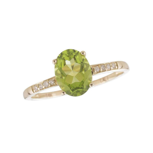 14kt Yellow Gold Diamond And Peridot Ring - August Birthstone