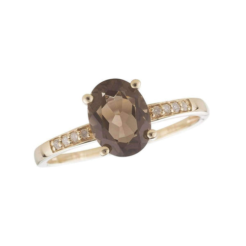 14kt Yellow Gold Diamond And Smoky Quartz Ring - June Birthstone