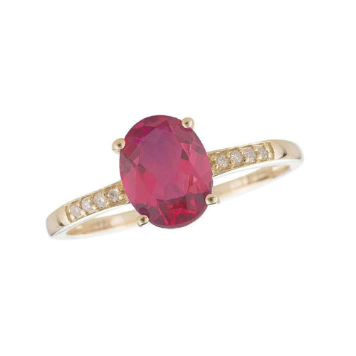 14kt Yellow Gold Diamond And Ruby Ring - July Birthstone