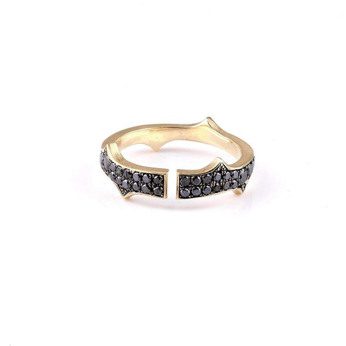 Black Diamond Knuckle Stack Band-Sylva & Cie-JewelStreet US