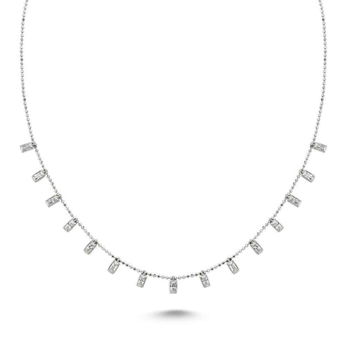 Baguette Necklace in Rhodium Plated Sterling Silver-Amorium-JewelStreet US
