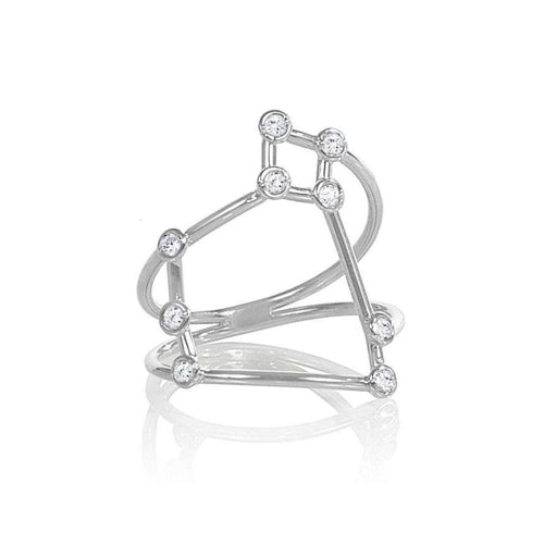White Gold Saggitarius Star Sign Constellation Ring-Jessie V E-JewelStreet US