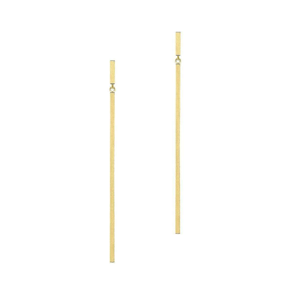 Aphrodite Long Bar Yellow Gold Plated Earrings-Sarah Kosta-JewelStreet US