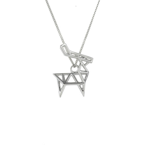 Sterling Silver Frame Deer Origami Necklace