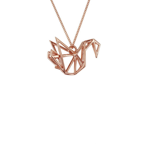 Sterling Silver & Pink Gold Frame Swan Origami Necklace
