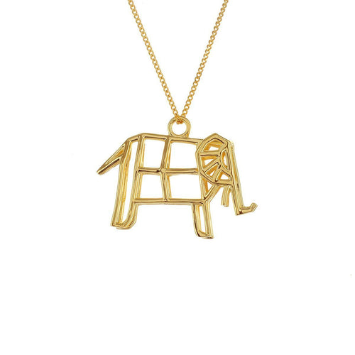 Sterling Silver & Gold Frame Elephant Origami Necklace