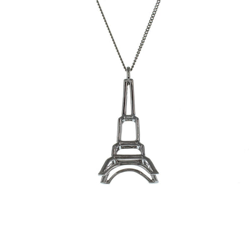 Black Silver Frame Eiffel Tower Origami Necklace