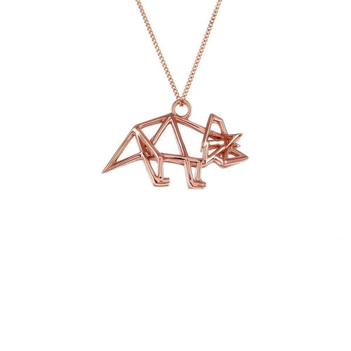 Sterling Silver Pink Gold Plated Triceratops Necklace