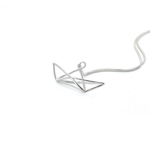 Sterling Silver Frame Boat Origami Necklace