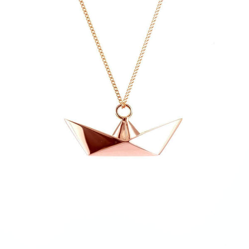 Sterling Silver Pink Gold Plated Boat Necklace