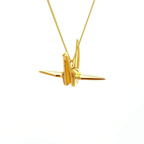 Sterling Silver Gold Plated Crane Necklace