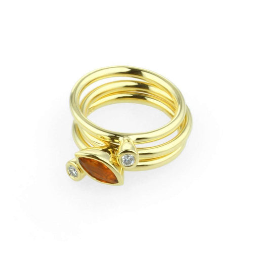 18kt Yellow Gold Stacking Ring With Diamond - 0.06ct-Prism Design-JewelStreet US