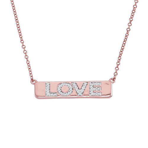 Diamond Love Bar Necklace In Rose Gold ,[product vendor],JewelStreet