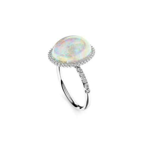 18kt White Gold, Diamond & Crystal Opal Ring ,[product vendor],JewelStreet