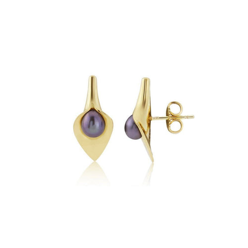 9kt Gold Small Lily Pearl Earstuds ,[product vendor],JewelStreet