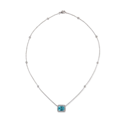 18kt White Gold Apatite and Diamond Necklace  ,[product vendor],JewelStreet