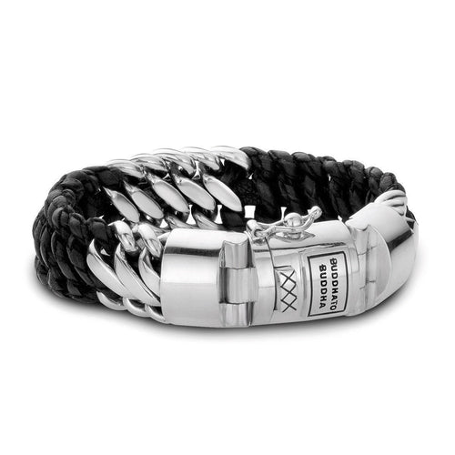 Ben Mix Silver and Leather Bracelet Black by Buddha To Buddha ,[product vendor],JewelStreet