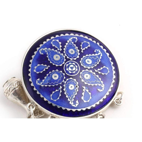 Blue Brooch with Georgian Traditional Elements ,[product vendor],JewelStreet