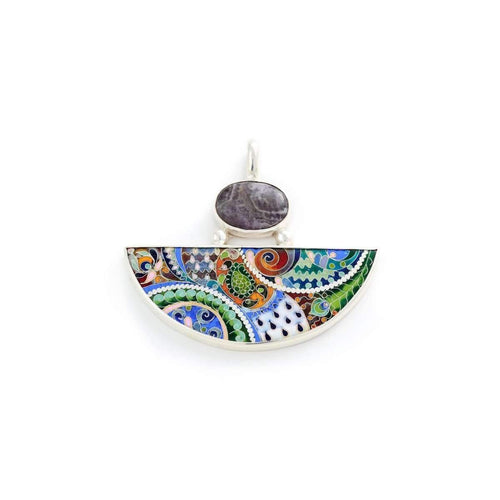 Sterling Silver Force of Nature Pendant with Cloisonné Enamel ,[product vendor],JewelStreet