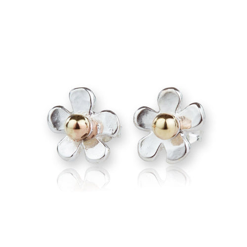 Gold & Sterling Silver Daisy Hammered Stud Earrings ,[product vendor],JewelStreet
