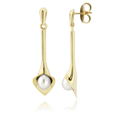 Gold Medium Long Lily White Pearl Earrings ,[product vendor],JewelStreet